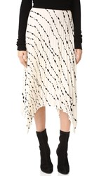 Helmut Lang Ribbon Print Pleated Skirt Parchment Multi