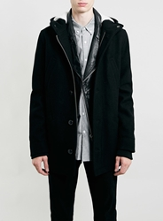 Topman Black Wool Mix Hooded Parka