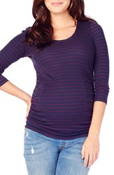 Ingrid And Isabelr Women's Isabel Stripe Ruched Maternity Top True Navy Plum Stripe