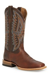 Ariat Men's 'Hesston' Cowboy Boot Old Saddle Brown Leather