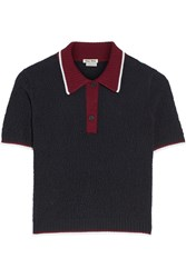 Miu Miu Textured Wool Polo Shirt Blue