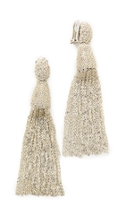 Oscar De La Renta Classic Long Chain Tassel Earrings Silver