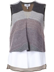 Derek Lam 10 Crosby Layered V Neck Tank Grey