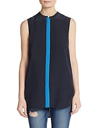 Vince Sleeveless Silk Colorblock Blouse Dark Costal