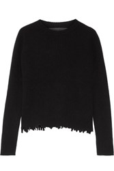 The Elder Statesman Distressed Ribbed Cashmere Sweater Black