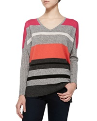 Neiman Marcus Striped V Neck Cashmere Sweater Medium
