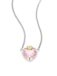 Judith Ripka Fontaine Pink Crystal White Sapphire And Sterling Silver Heart Pendant Necklace