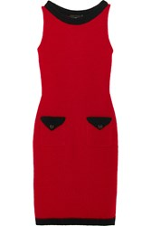 Boutique Moschino Wool Blend Boucle Mini Dress Red