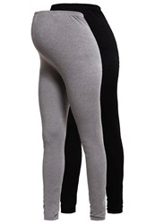Mama Licious Mllea 2 Pack Leggings Black Medium Grey Melange