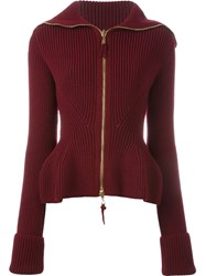 Alexander Mcqueen Peplum Zip Up Cardigan Red