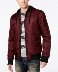 American Rag Men's Quilted Hooded Bomber Jacket Only At Macy's Dark Scarlet