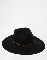 Asos Wide Brim Fedora Hat In Black Felt With Plait Band Black