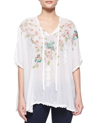 Johnny Was Sakura Short Sleeve Embroidered Poncho
