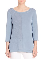 Peserico Knit Perforated Detail Top Blue
