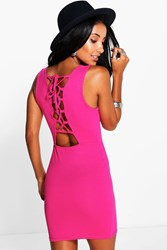Boohoo Lace Up Back Mini Bodycon Dress Pink