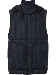 Engineered Garments Pinstripe Padded Gilet Black