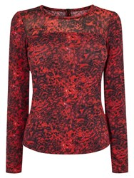 Karen Millen Leopard Print Top Red Multi