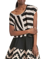 Plenty By Tracy Reese Striped Linen Tee Black