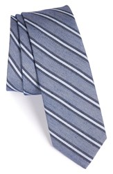 Men's Calibrate 'Light Denim' Stripe Silk Blend Tie