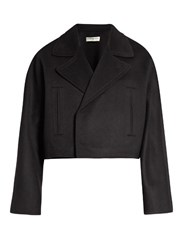 Balenciaga Double Faced Wool Cropped Jacket Navy