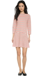 Tory Burch Linen Jersey Boat Neck Dress Brilliant Red Stripe