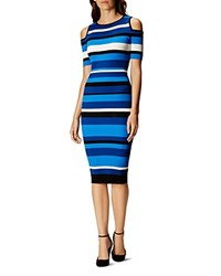 Karen Millen Striped Cold Shoulder Dress Blue Multi