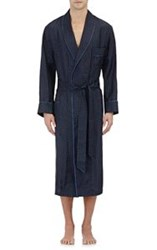 Barneys New York Men's Piped Dotted Silk Robe Blue