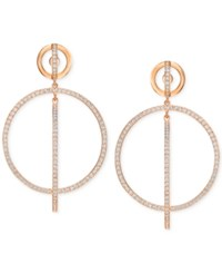 Swarovski Rose Gold Tone Pave Circle And Bar Drop Earrings