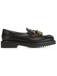 Car Shoe Studded Tassel Loafers Black