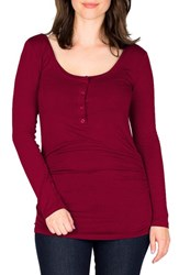 Nom Maternity Women's Ruched Long Sleeve Top Merlot
