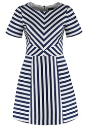 Oasis Chloe Summer Dress Blue And Ivory
