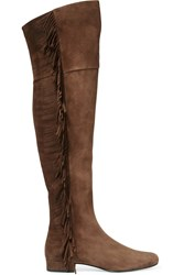 Saint Laurent Fringed Suede Over The Knee Boots Dark Brown