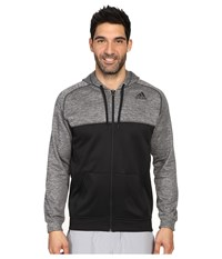 Adidas Team Issue Fleece Full Zip Hoodie Block Black Dark Grey Heather Black Men's Sweatshirt