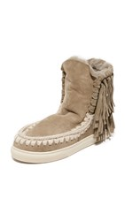 One By Mou Eskimo Sneaker Fringe Booties Cor