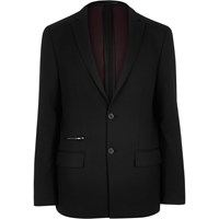 River Island Mens Black Zip Pocket Slim Blazer