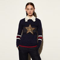 Coach Wool Glitter Star Crewneck Sweater Navy Gold