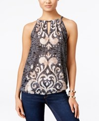 Inc International Concepts Printed Keyhole Halter Top Only At Macy's Deep Black