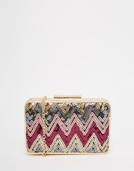 Glamorous Sequin Embellished Box Clutch Bag Multi