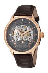 Stuhrling Men's Executive Skeleton Alligator Embossed Watch Brown