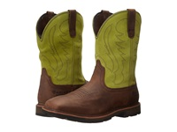Ariat Groundbreaker Wide Square Toe H20 Palm Brown Bright Lime Cowboy Boots