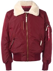 Alpha Industries Thick Lapels Bomber Jacket Red