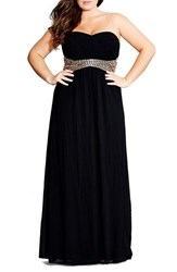 Plus Size Women's City Chic 'Bejewelled Belle' Strapless Gown Black