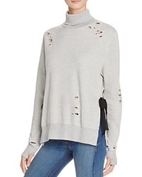 Pam And Gela Destroyed Turtleneck Sweatshirt Heather Grey