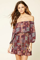 Forever 21 Abstract Floral Belted Dress