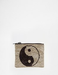 Asos Handstitched Sequin Yin And Yang Coin Purse Gold