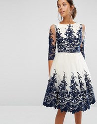 Chi Chi London Premium Lace Midi Dress With Scalloped Back And 3 4 Sleeve Cream Navy
