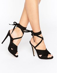 Truffle Collection Tie Ankle Rita Heeled Sandals Black Micro