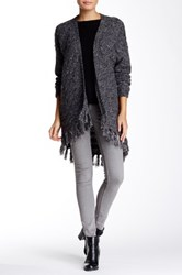Kensie Cable Knit Fringe Cardigan Gray
