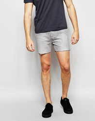 Religion Short Denim Shorts Washed Grey