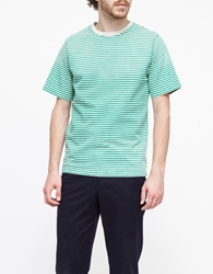 Creep By Hiroshi Awai Nautical Stripe Washed Tee Green